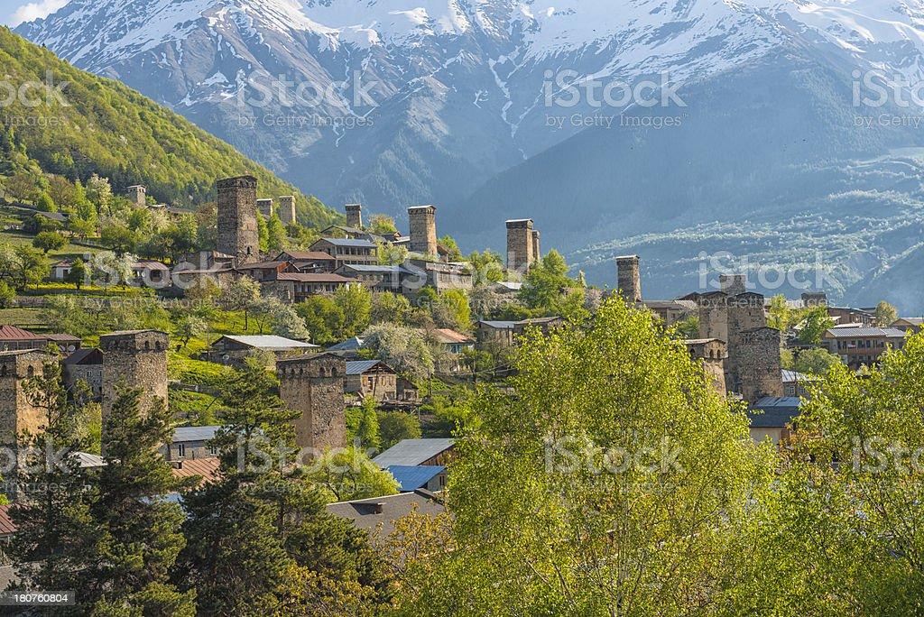 Defensive towers in Mestia in Samegrelo-Zemo Svaneti region royalty-free stock photo