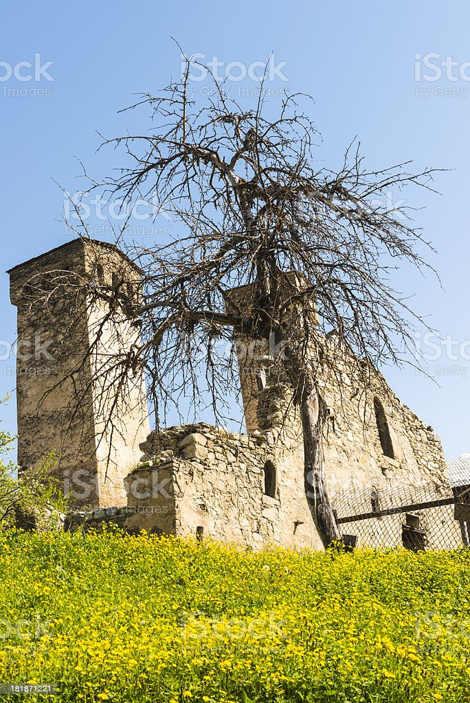 Defensive towers in Mestia royalty-free stock photo