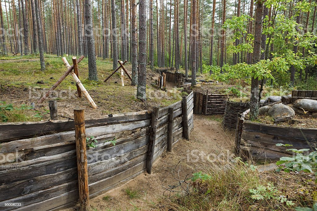Defensive trench in forest royalty-free stock photo