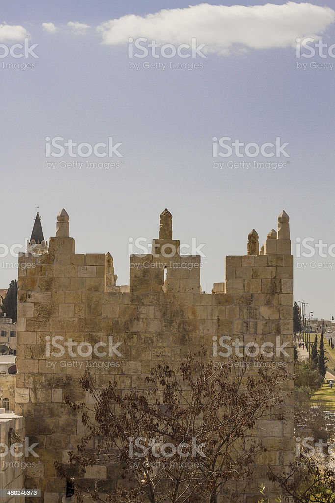 Defensive wall of the ancient holy Jerusalem . royalty-free stock photo