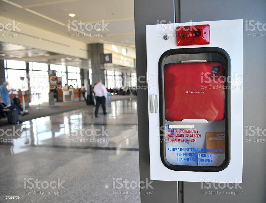 Defibrilator in Airport stock photo