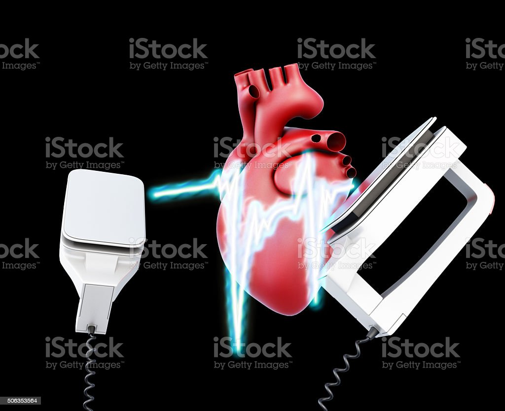 Defibrillator and heart on a black background. 3d illustration stock photo