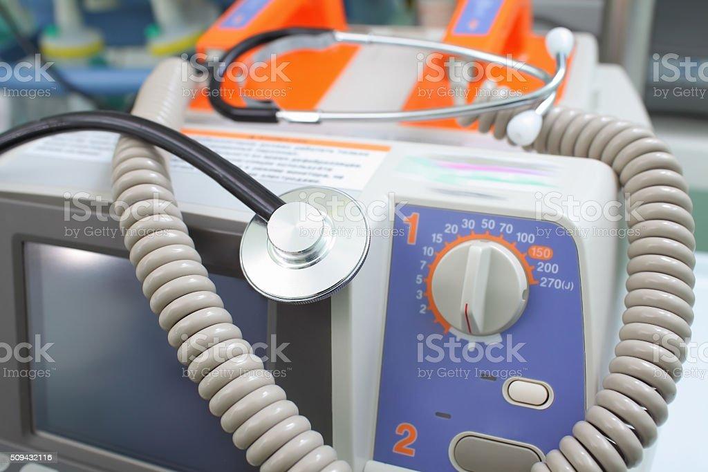 Defibrillator and stethoscope stock photo