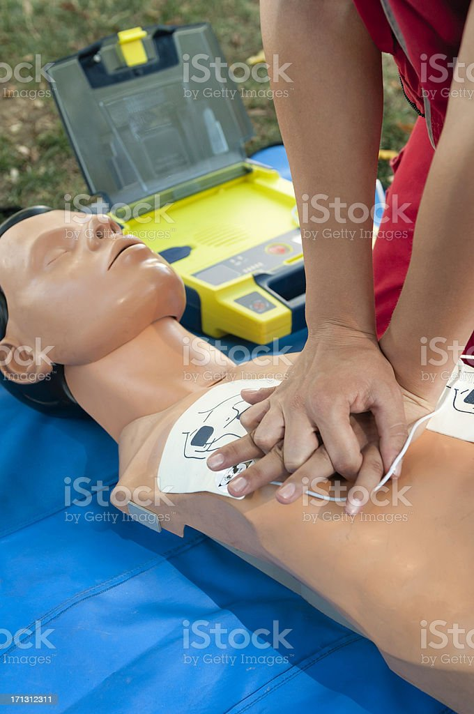 Defibrillator CPR training royalty-free stock photo