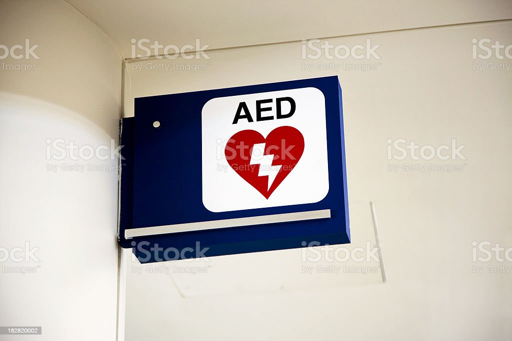 Defibrillator Sign - AED Automated External Defibrillation stock photo