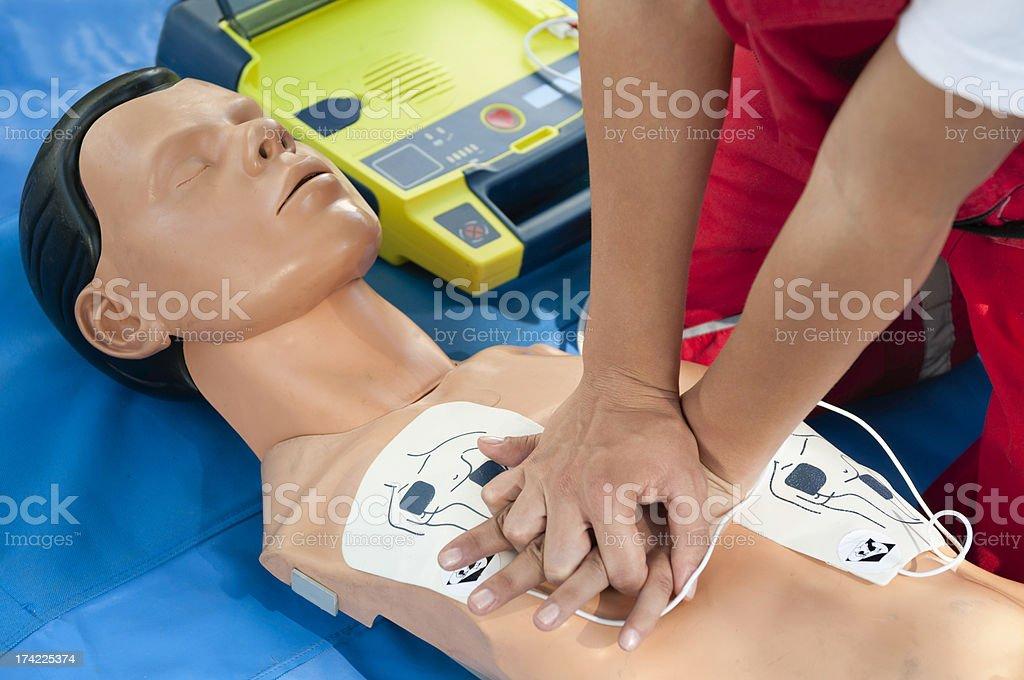 CPR Defibrillator Training stock photo