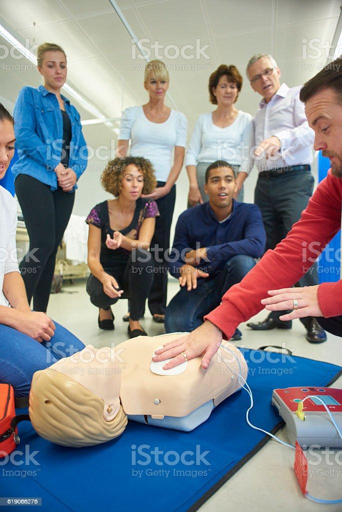 defibrulator training stock photo