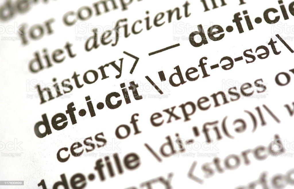 Deficit stock photo