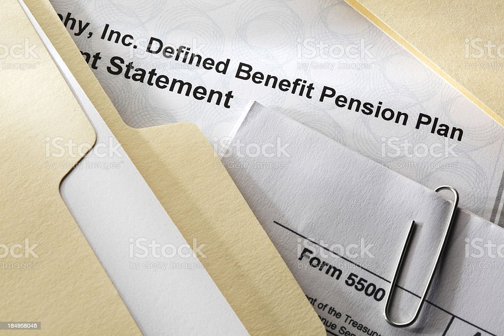 Defined Benefit Plan Documents stock photo