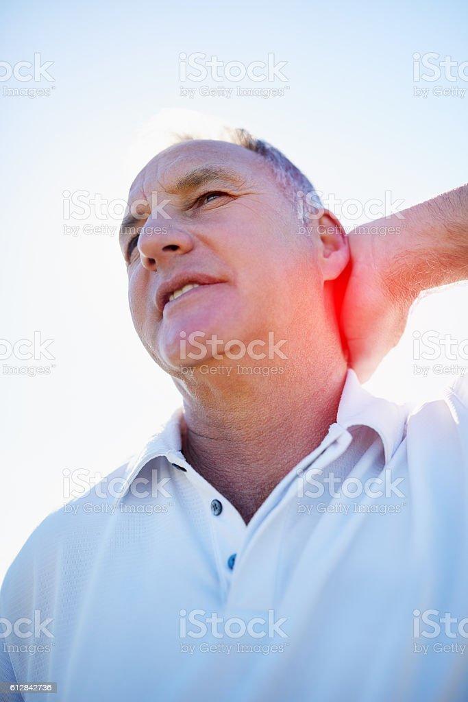 I definitely need a neck massage stock photo
