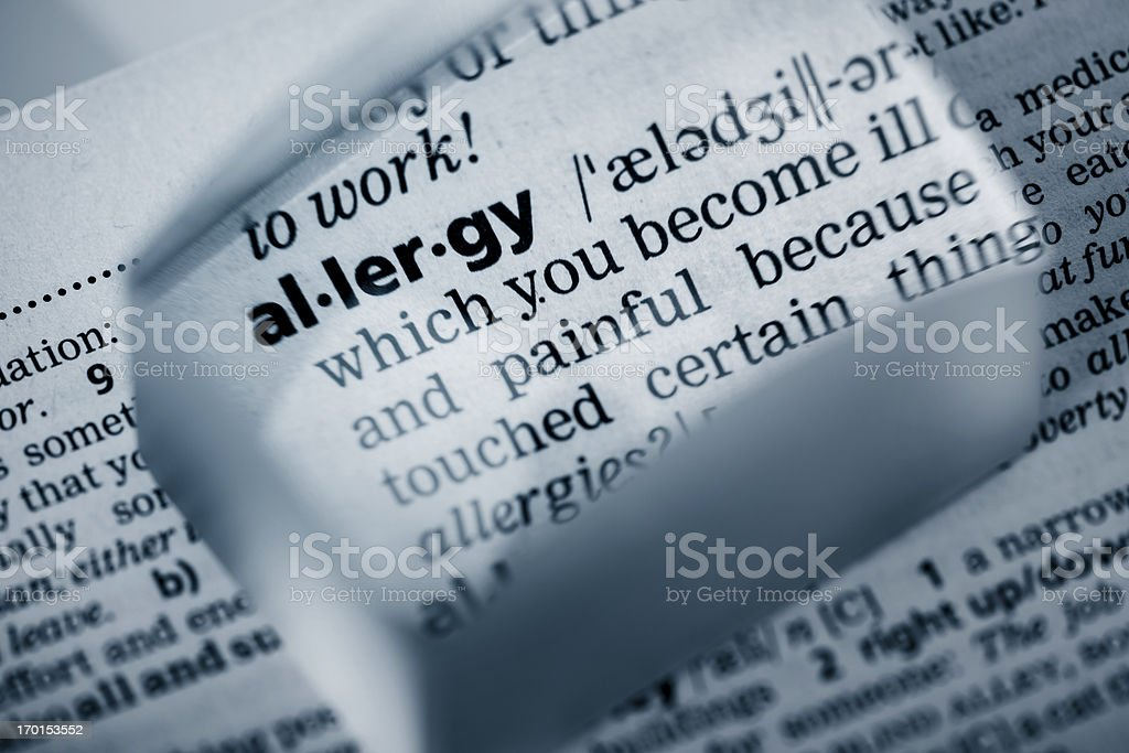 Definition 'allergy' royalty-free stock photo