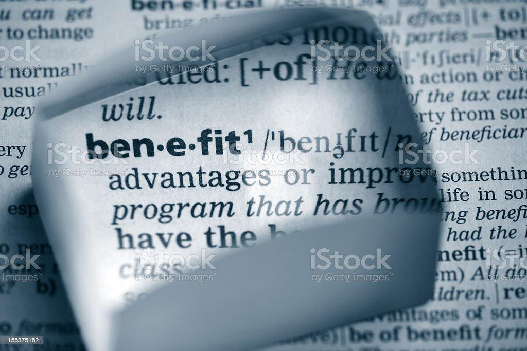 Definition benefit stock photo