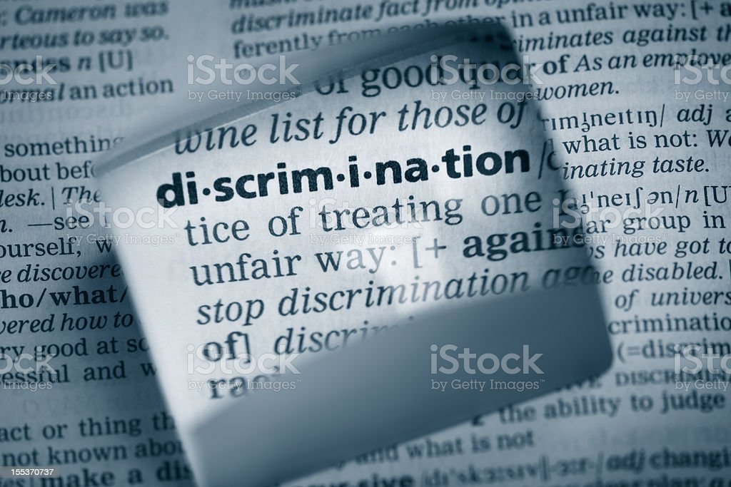 Definition 'discrimination' stock photo