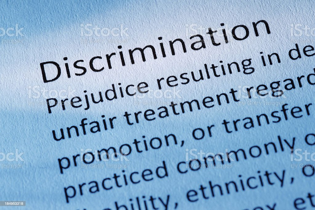 Definition: Discrimination royalty-free stock photo