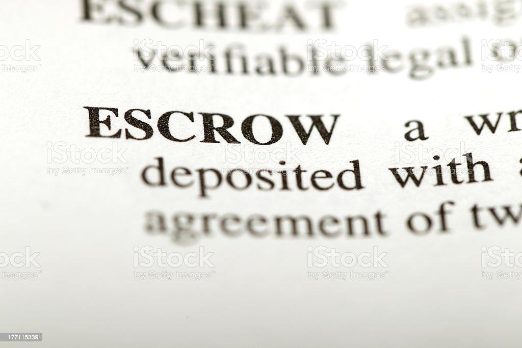 Definition escrow royalty-free stock photo