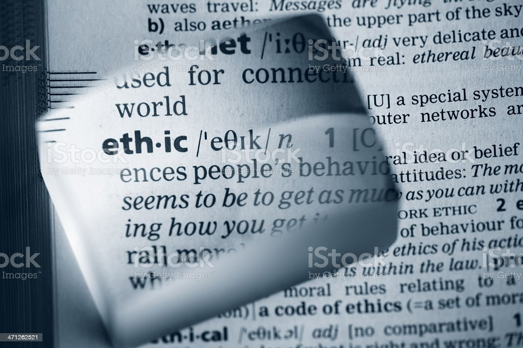 Definition 'ethic' royalty-free stock photo