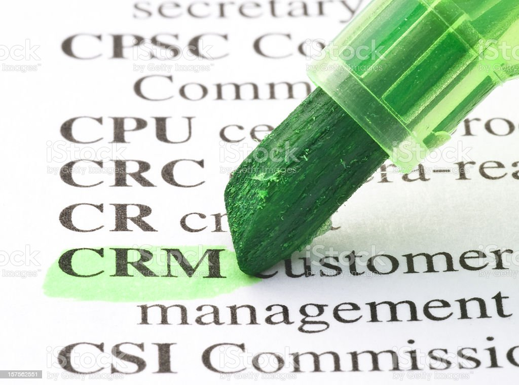 CRM definition highligted in dictionary stock photo