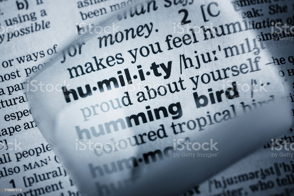 Definition 'humility' stock photo