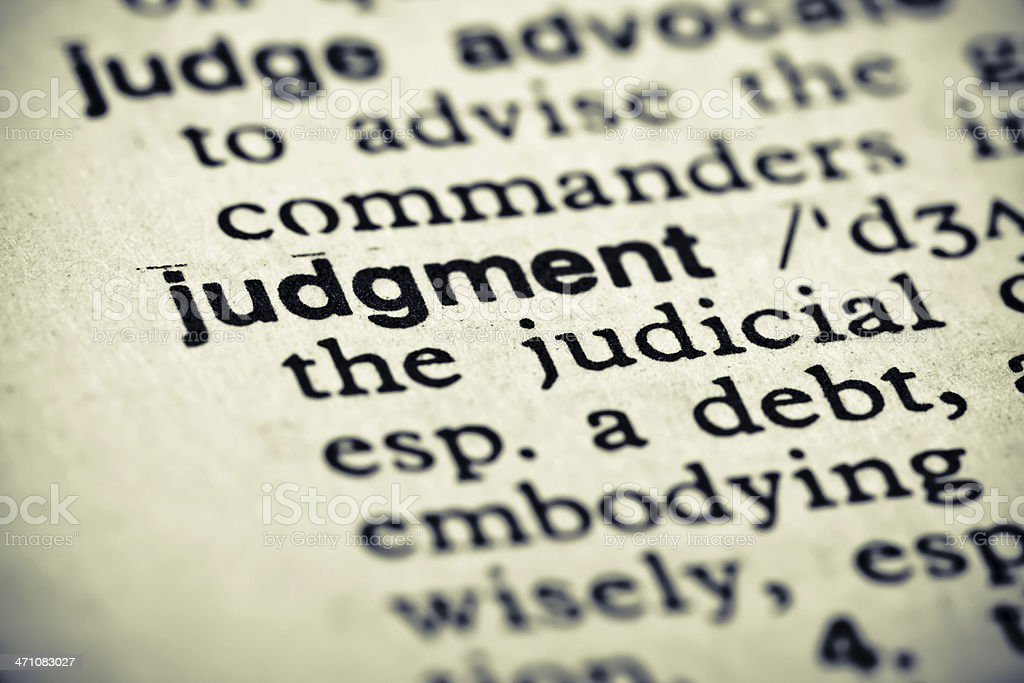 Definition: Judgment stock photo