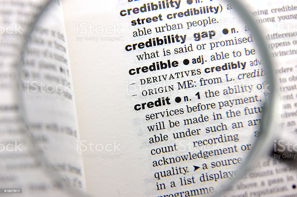 Definition of credit royalty-free stock photo