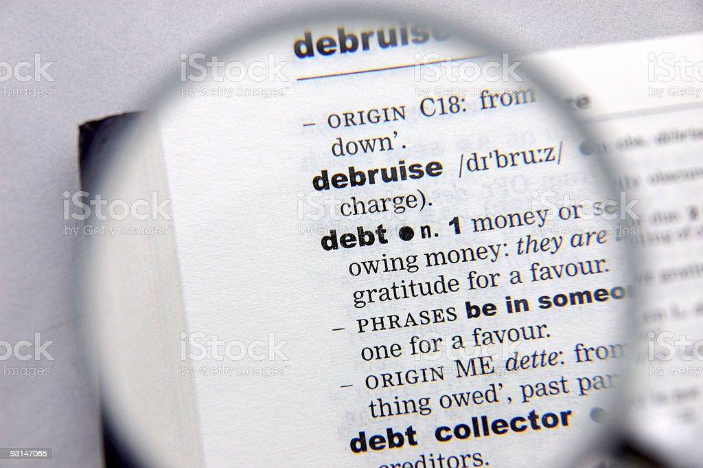 Definition of debt royalty-free stock photo