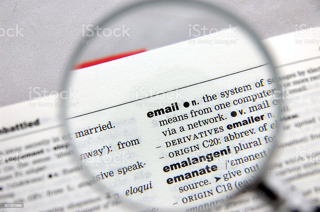 Definition of email royalty-free stock photo