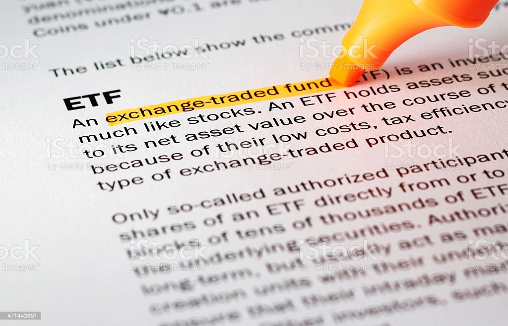 Definition of 'ETF' stock photo