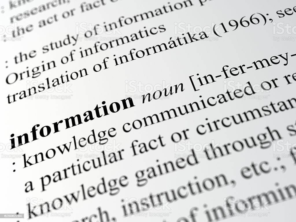 definition of information stock photo