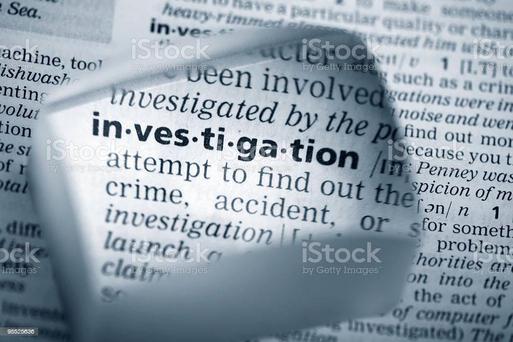 Definition of investigation stock photo