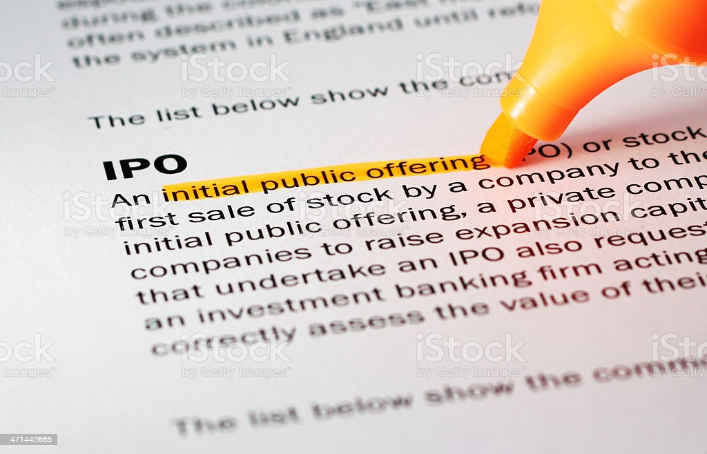 Definition of 'IPO' stock photo