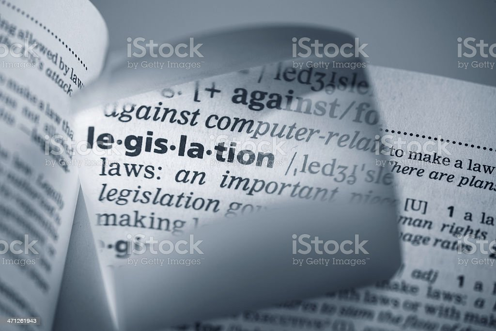 Definition of Legislation amplified with a magnifying glass stock photo