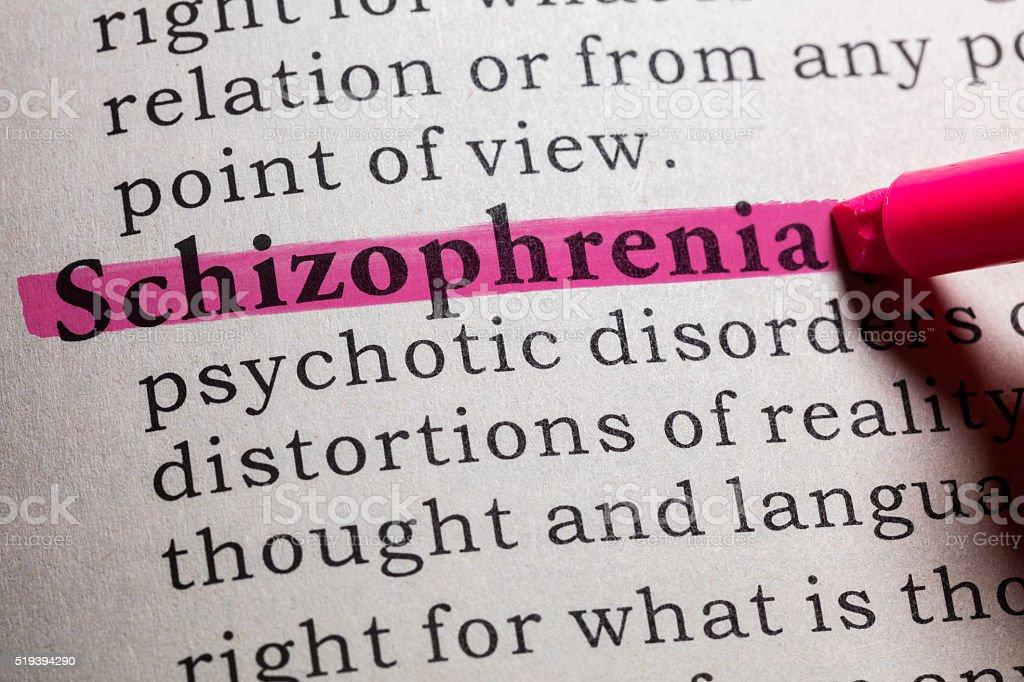 definition of Schizophrenia stock photo