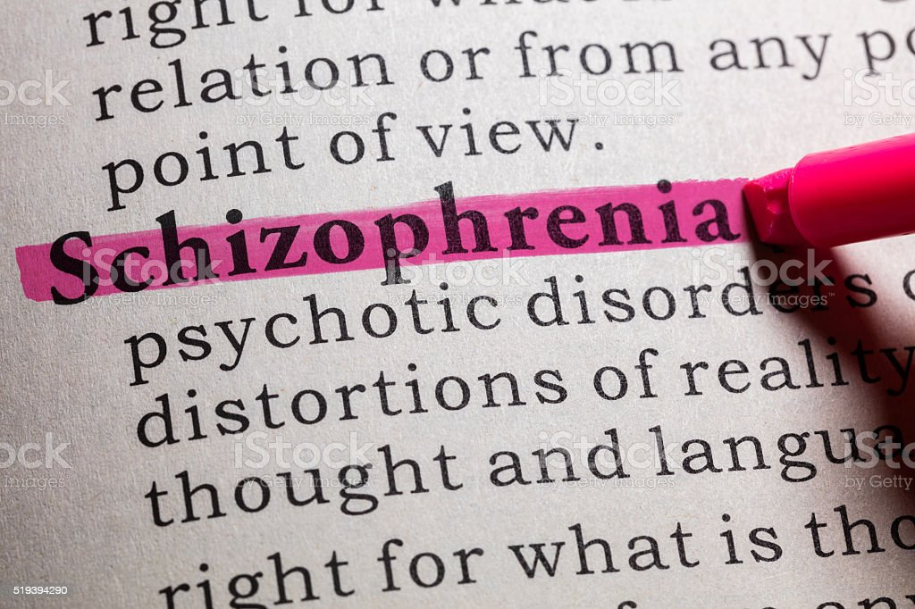 definition of Schizophrenia stock photo