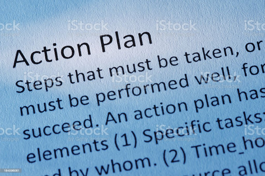 Definition of the phrase Action Plan in blue Tone royalty-free stock photo