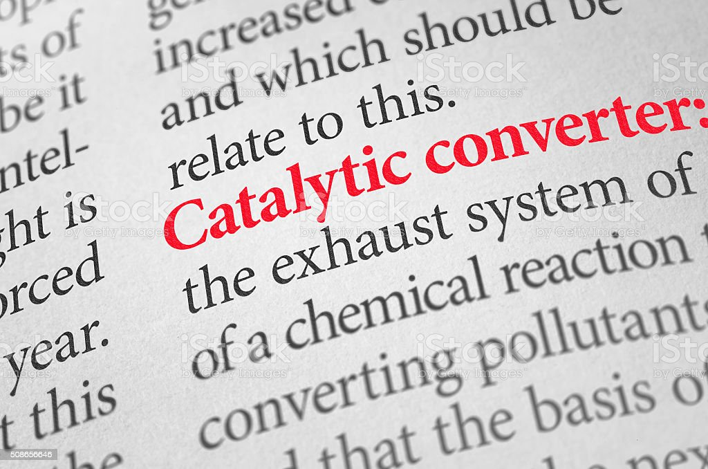 Definition of the word Catalytic converter in a dictionary stock photo