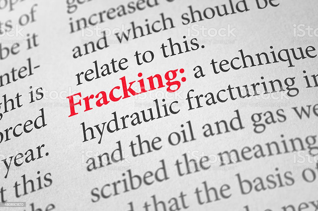 Definition of the word Fracking in a dictionary stock photo
