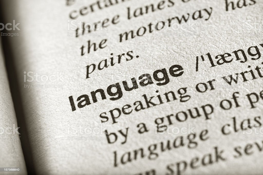 Definition of the word language in a book stock photo