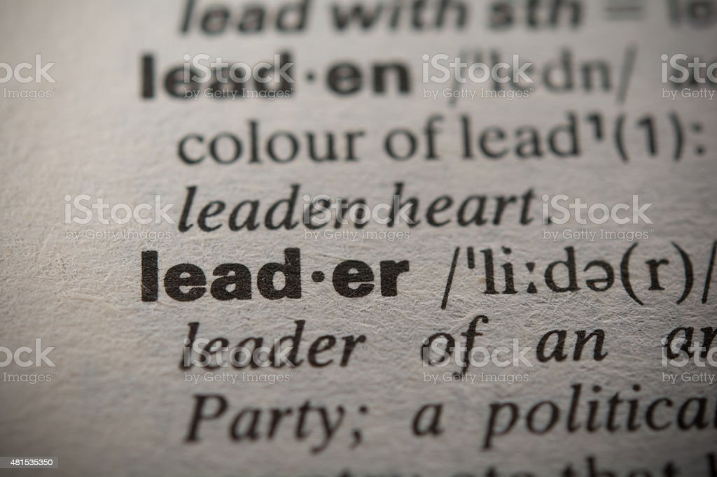 Definition of the word leader stock photo