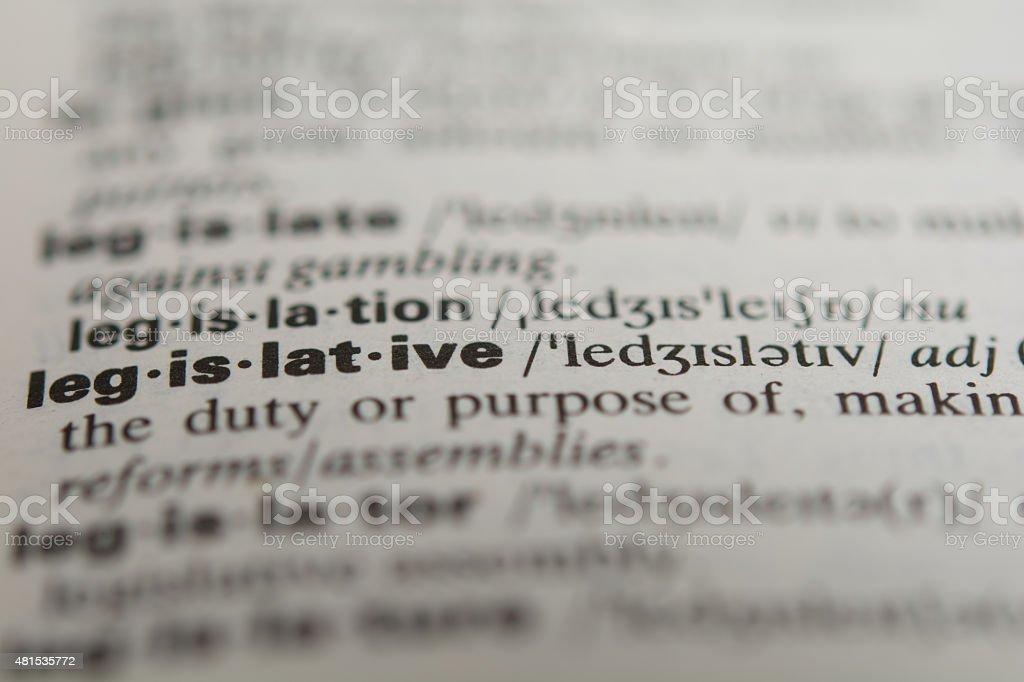 Definition of the word legislative stock photo