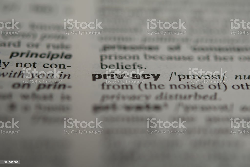 Definition of the word privacy stock photo