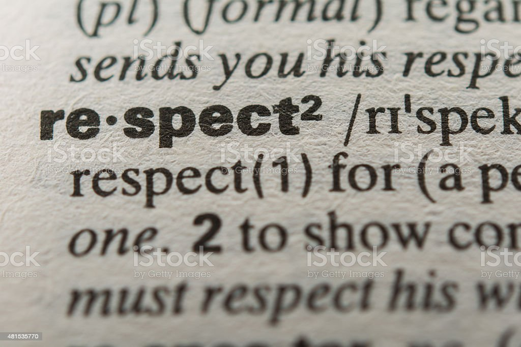 Definition of the word respect stock photo