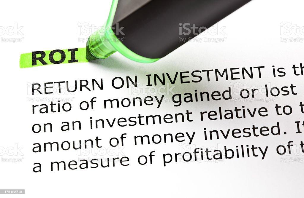 ROI Definition stock photo