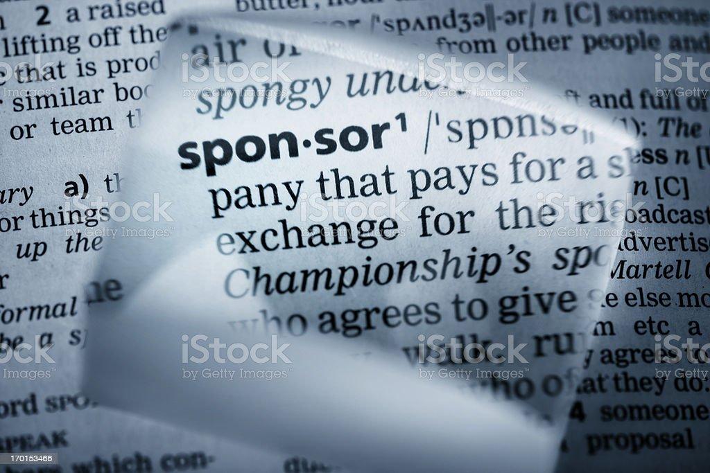 Definition 'sponsor' stock photo