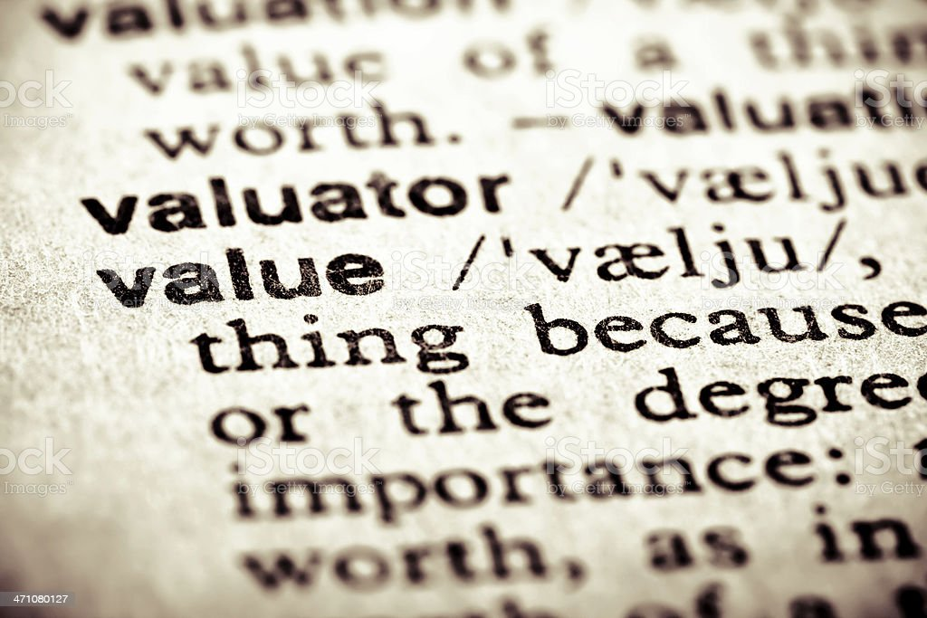 Definition: Value royalty-free stock photo