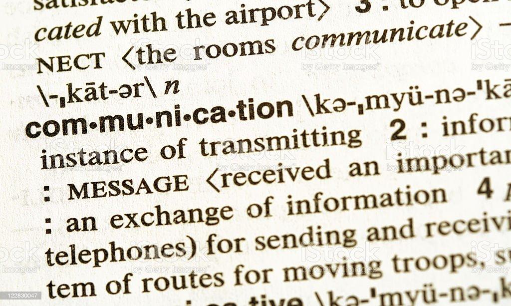 Definiton of Communication stock photo