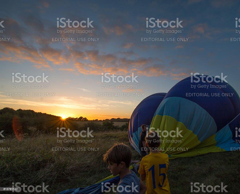 Deflating A Hot Air Balloon stock photo