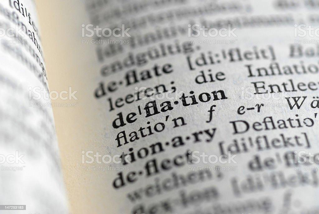 deflation translation stock photo