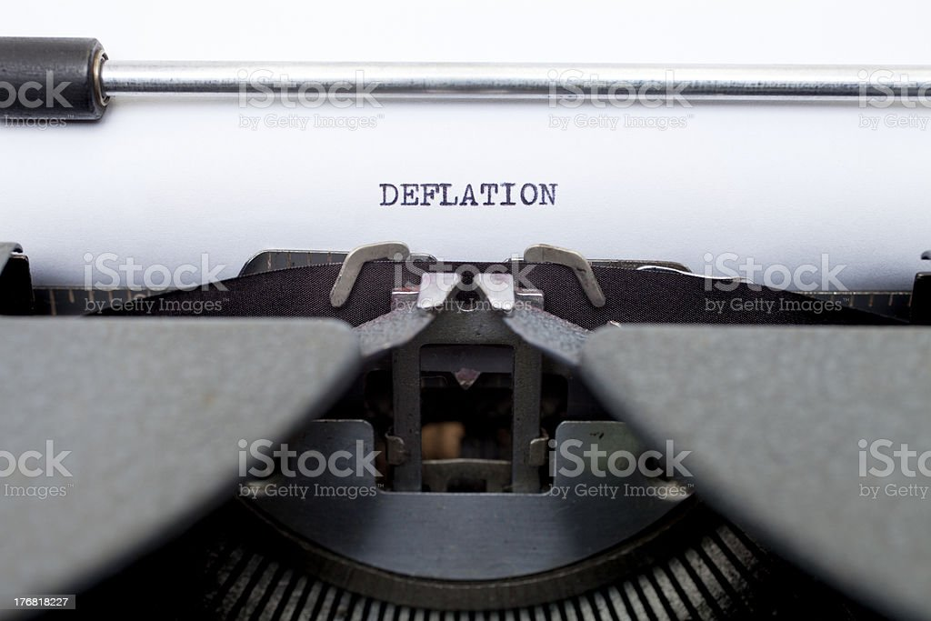 Deflation Typed on an Old Typewriter royalty-free stock photo