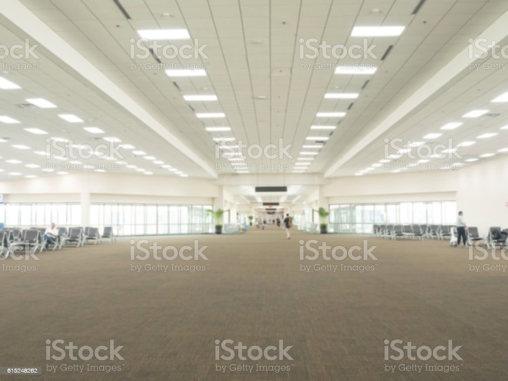 Defocus airport gate for travellers at airport stock photo