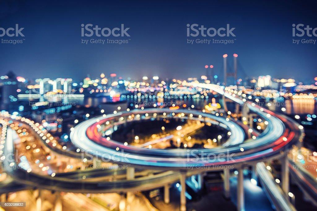 defocus nanpu bridge at dusk ,crosses huangpu river ,shanghai ,C stock photo